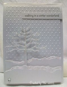die cut twiggy tree, torn edge snow banks on dot embossing folder texture. Homemade Christmas Cards, Christmas Cards To Make, Xmas Cards, Homemade Cards, Holiday Cards, Handmade Christmas, Winter Karten, Theme Noel, Embossed Cards