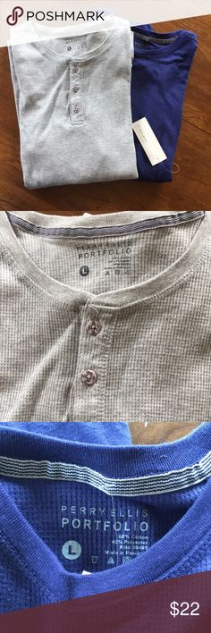 NWT Bundle of Men's Perry Ellis Thermal Shirts Two brand new Perry Ellis Portfolio men's thermal tee's. The gray has 3 buttons and the blue is crew neck. Will separate if desired! Perry Ellis Shirts Tees - Long Sleeve