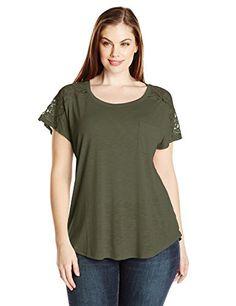14e40b25508 Paper + Tee Women s Plus-Size Scoop Neck Short Sleeve Lace Trim Shoulder  Top