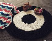 Monochrome Crochet Floor Rug