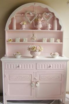 Pink shabby chic hutch Makeover
