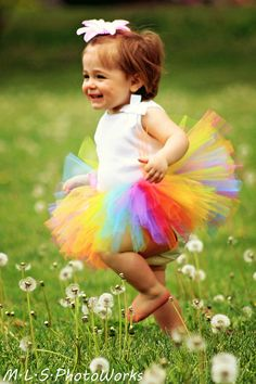Candy Rainbow TuTu - H will be rocking this on her first Birthday!