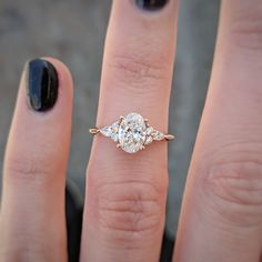 Our moissanite unique engagement ring set is handmade in expert detail. This white gold floral set features a luxurious moissanite engagement ring with floral accents along either side of the band. Engagement Ring Shapes, Beautiful Engagement Rings, Rose Gold Engagement Ring, Engagement Ring Settings, Vintage Engagement Rings, Side Stone Engagement Rings, Oval Wedding Rings, Diamond Shaped Engagement Ring, Traditional Engagement Rings