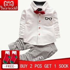 3915b470ad81c Bear Leader Baby Clothing Sets Kids Clothes Autumn Baby Sets Kids Long  Sleeve Sports Suits Bow Tie T-shirts + Pants Boys Clothes