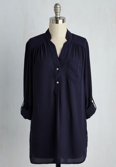 Pam Breeze-ly Tunic in Navy. When you want a work wardrobe thats subtle, stylish, and a little bit romantic, make this breezy, navy blue blouse your business! #blue #modcloth