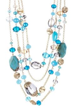 4 Strand Blue Stone & Glass Necklace colors of the sea blue brown turquoise gold silver shiny