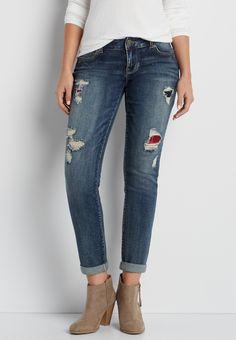 DenimFlex™ skinny boyfriend jeans in dark wash with plaid lined destruction