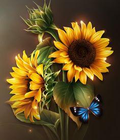 Moonbeam's Bright Yellow Sunflowers 2D Merchant Resources moonbeam1212