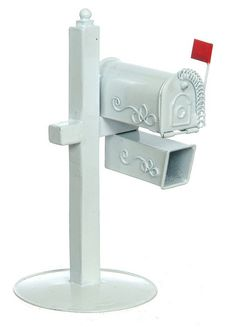 1 Inch Scale Rural Dollhouse Mailbox in White