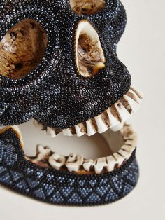 Our Exquisite Corpse Huichol Black Skull Made Exclusively For LN-CC. (detail).
