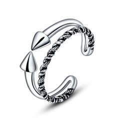 Authentic 925 Sterling Silver Double Sharp Twist Opening Adjusting Finger Ring