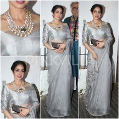 Bollywood actress sridevi at Diwali party in saree ask more information call whats app 9214873512 Trendy Sarees, Stylish Sarees, Fancy Sarees, Saree Blouse Patterns, Saree Blouse Designs, Indian Dresses, Indian Outfits, Sari Design, Fancy Blouse Designs