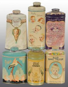 vintage talc tins - packaging and design