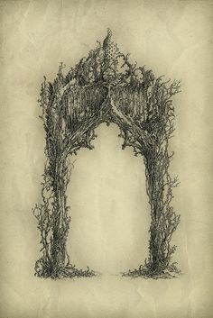 Arch by Yaroslav Gerzhedovich, Ink and pen on paper. Gothic Art, Book Of Shadows, Tattoo Inspiration, In This World, Fantasy Art, Dark Fantasy, Fairy Tales, Art Drawings, Illustration Art