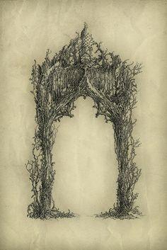 Arch by Yaroslav Gerzhedovich, Ink and pen on paper. Gothic Art, Book Of Shadows, Tattoo Inspiration, Fantasy Art, Dark Fantasy, Fairy Tales, Art Drawings, Illustration Art, Artsy