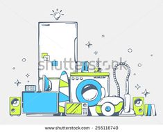 Vector illustration of large pile of blue and green household appliances standing  on each other on light gray background. Color line art design for web, site, advertising, banner, poster, board - stock vector
