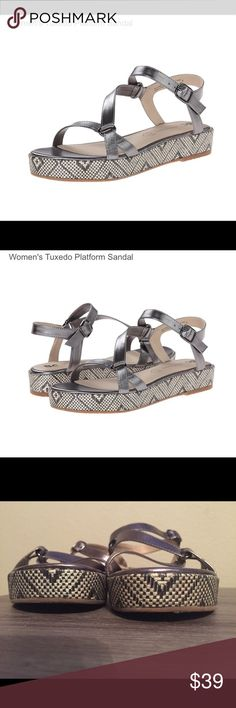 BC Footwear Women's Tuxedo Platform Sandal Awesomely designed pewter sandals (Vegan, too!) with adjustable straps. Size 9. I'm an 8.5, and I tried to make them work-twice-but they are DEFINITELY TRUE TO SIZE. No scuffs, tears, etc.  Like new!! Love these, you will too! BC Footwear Shoes Sandals