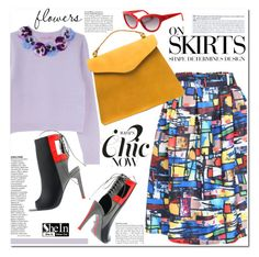 """Multicolor Print Midi Skirt"" by j-sharon ❤ liked on Polyvore featuring Vera Wang, Alepel, Moschino and shein"
