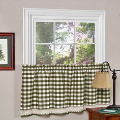 Buffalo Check Polyester Blend Tier Curtain Panels