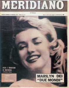 Marilyn Monroe on the cover of Meridiano magazine, January 10, 1960, Italy. Cover photo of Marilyn in England, 1956.