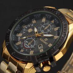 ##006 Mens-Black-Dial-Gold-Stainless-Steel-Date-Quartz-Analog-Sport-Wrist-Watch