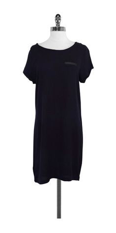 Sandro Navy & Black Short Sleeve Dress