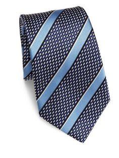 ERMENEGILDO ZEGNA Striped Silk Tie. #ermenegildozegna #tie