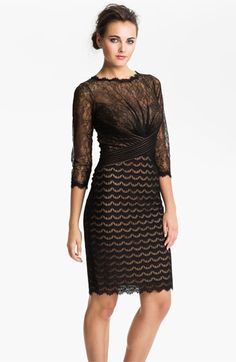Tadashi Shoji Illusion Yoke Lace & Mesh Dress available at #Nordstrom