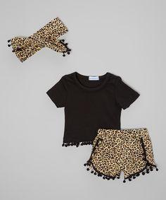 Black Animal Tee & Bubble Shorts Set - Infant, Toddler & Girls