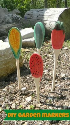 cute idea, and much easier to see and use, just paint the actual veggie on the spoon. DIY Garden Markers