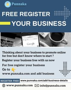 Free register your business Thinking about your business to promote online for free but don't know where to start ? For free register your business go to www.punnaka.com and add business