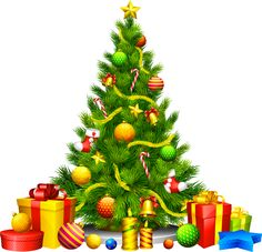 Large Transparent Christmas Tree with Presents Clipart