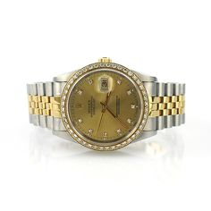 Rolex Oyster Perpetual DateJust, Model 16233 with Dial set in diamonds and Gold 18K Gold Diamond Bezel. #rolex #datejust #16233 #Luxurywatch