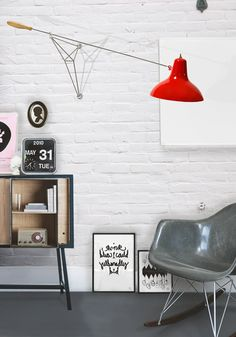 #chair #lamp #grey #red #display