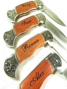 Set of 6 Personalized Engraved Rosewood Handle Pocket Hunting Knife Knives Groomsman Gift