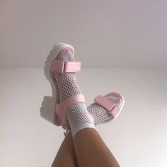 Pink and white platform sandals Soft Grunge, Pink Tights, Pumped Up Kicks, Kawaii, Glass Slipper, Pumps, Heels, Sock Shoes, Me Too Shoes