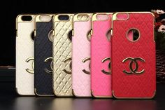 Chanel Double C Leather Back Case with Gold Metal Border for Iphone 6 4.7 Iphone 6 Plus Iphone 5/5S http://www.oz3ds.com/product.php?id_product=440