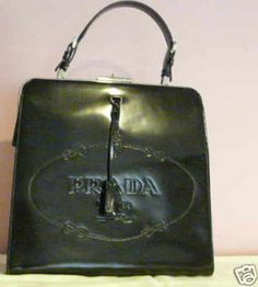 Prada Authentic Black Embossed Logo Frame Handbag