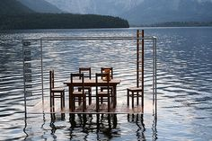 floating art in Obertraun, Austria