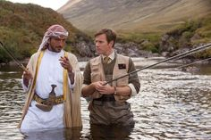 SALMON FISHING IN THE YEMEN, from left: Amr Waked, Ewan McGregor, 2011 | Essential Film Stars, Ewan McGregor http://gay-themed-films.com/film-stars-ewan-mcgregor/