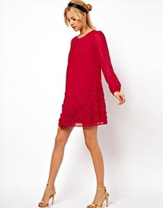 Image 4 of ASOS Swing Dress with Floral Embroidery