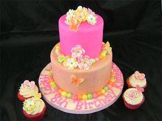 Two tier fondant covered vanilla cake with vanilla buttercream