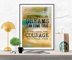 Dream quote poster Courage print printable art Inspirational quote Motivational print digital print poster printable colorful wall art by InArtPrints on Etsy