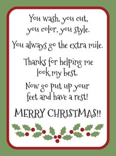 Christmas gift idea for your favorite hair stylist. Christmas gift idea for your favorite hair stylist. Christmas Verses, Christmas Card Sayings, Christmas Gift Tags, Christmas Wishes, Holiday Gifts, Christmas Holidays, Christmas Crafts, Christmas Ideas, Christmas Presents