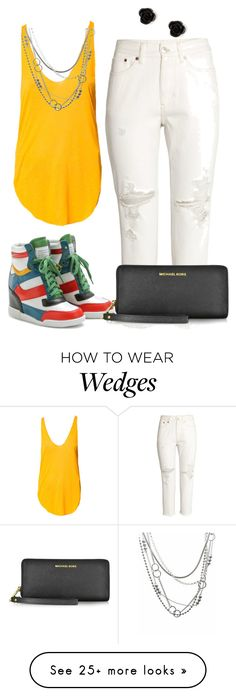 """White Jeans w/ Colorful Wedge Sneakers"" by firemama-x3 on Polyvore featuring Isabel Marant, Michael Kors, Zara, Brash Bijoux and claire's"