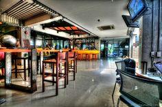 Lub d Silom Hostel main area and bar Bangkok Thailand