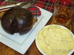 Haggis the famous dish of Scottish Cuisine,  eaten specially at Burns Night every January 25th.  Haggis is traditionally served with neeps and tatties.