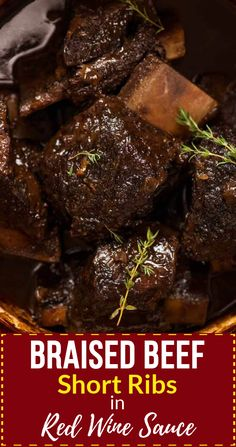 Beef short ribs are the absolute best cut of beef for slow cooking! The most tender and succulent fall apart beef you will ever have, you'd pay top dollar at fine dining restaurants for a plate of these Braised Beef Short Ribs. Cooked long and slow in a r Short Ribs Slow Cooker, Beef Ribs In Oven, Beef Short Ribs Pressure Cooker Recipe, Beef Ribs Recipe Oven, Braising Ribs Recipe, Braised Beef Slow Cooker, Slow Cooked Oven Ribs, Braised Beef Short Ribs Recipe, Oven Roast