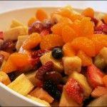 Fruit salad with yogurt honey-lime dressing
