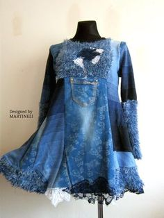 M/L Blue Tunic Dress Extravagant Dress Upcycled Clothing Bohemian Clothing Denim Tunic Boho Chic Top Faux Fur Top Medium Upcycled I designed and constructed this Boho chic dress. This denim extravagant dress can be weared on special occasions,wedding,prom or when you want to feel good and